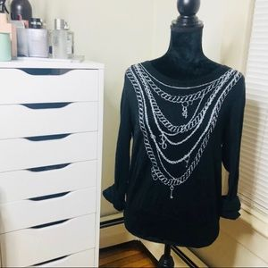 Black And Silver Chain Detail Sweater